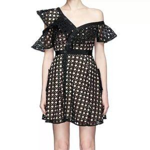 Self-Portrait Guipure Asymmetrical Dress - Size 4